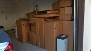 moving trash, cardboard boxes