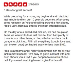 Yelp Review - Junk Removal in North Park 92104