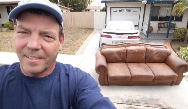 sofa removal selfie